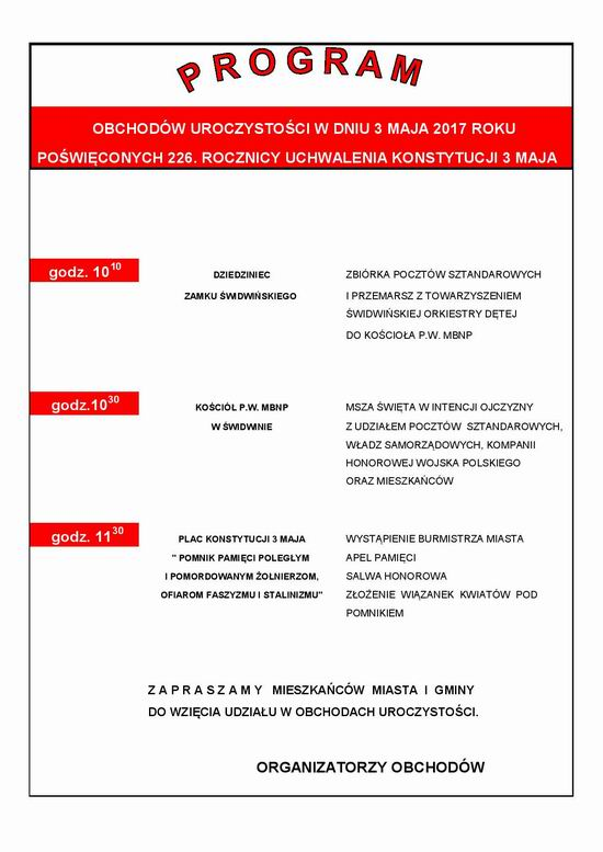 Program obchodów uroczystości 3 Maja